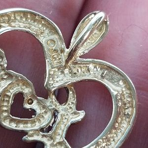 Vintage Jewelry - ⚘ 10k solid yellow white gold love heart pendant